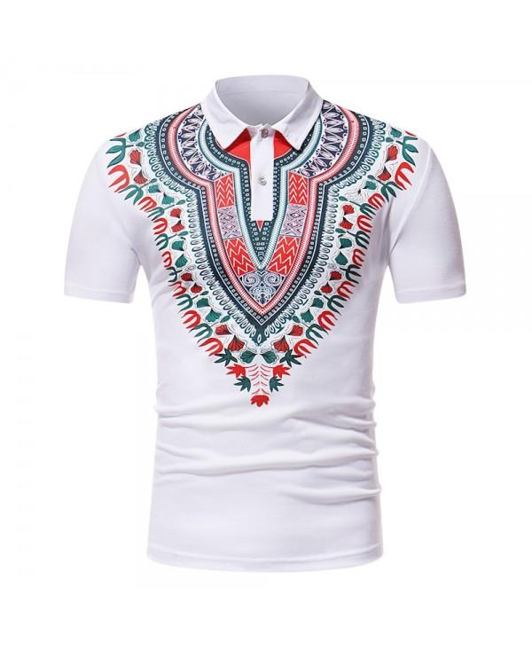 ZT - PL05 Men African Print Pullover Short Sleeve Shirt
