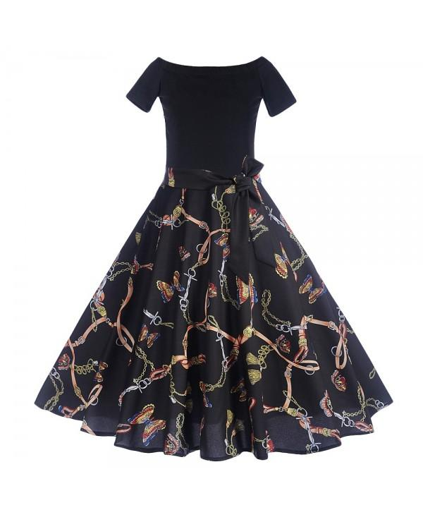 Off The Shoulder Short Sleeve Print Belted A-line Women Vintage Dress