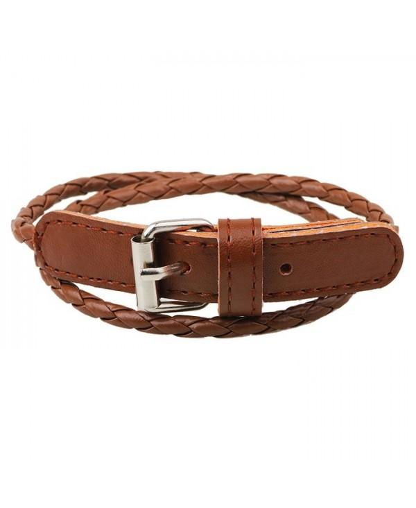 Unisex Business Simple Braided Multilayer Leather Bracelet