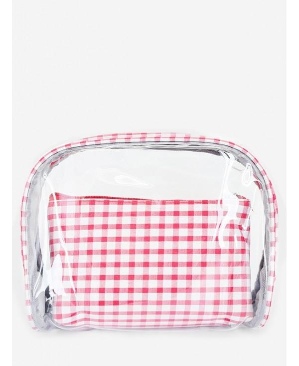 Transparent PVC Plaid Makeup Bag