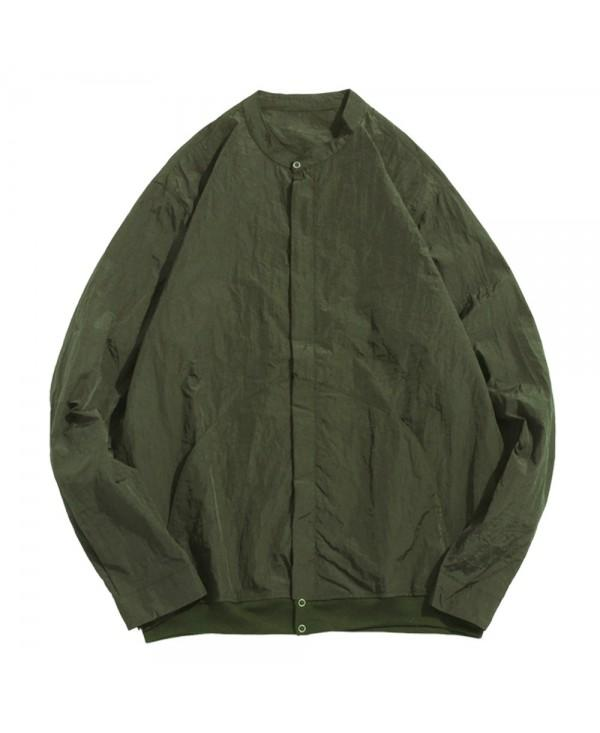 Stand Collar Zip Fly Jacket