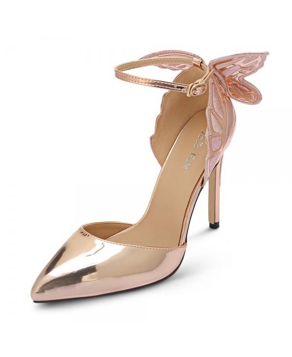 Pointed Toe Ankle Strap Butterfly Stiletto Heel Women Sandals