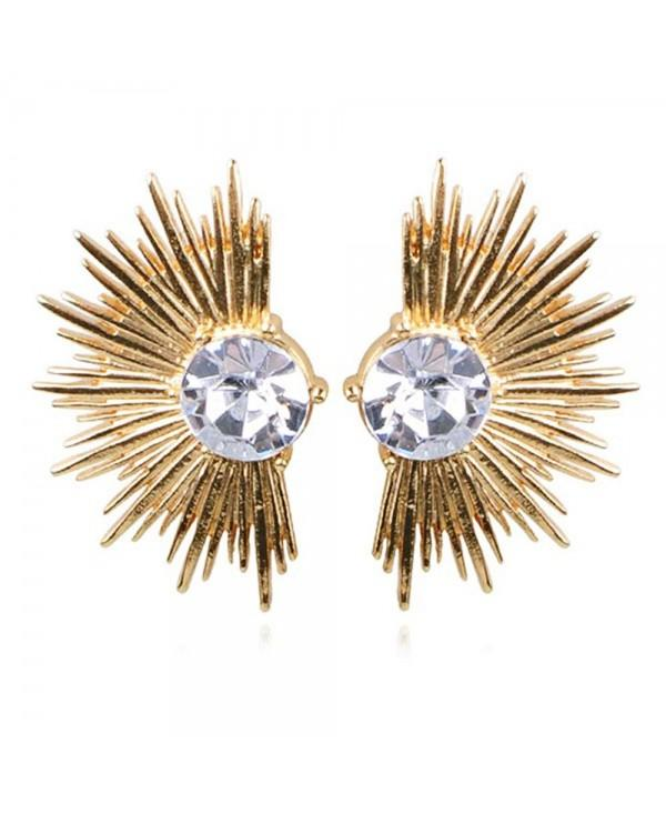 Punk Rhinestone Fan Shape Alloy Earrings