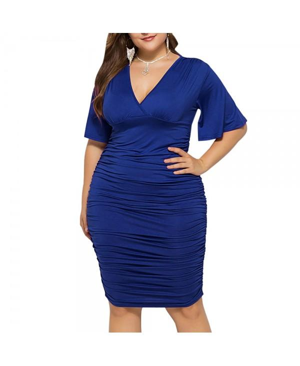 Low Cut Ruched Plus Size Bodycon Dress - Denim Dark Blue - 5D49048818