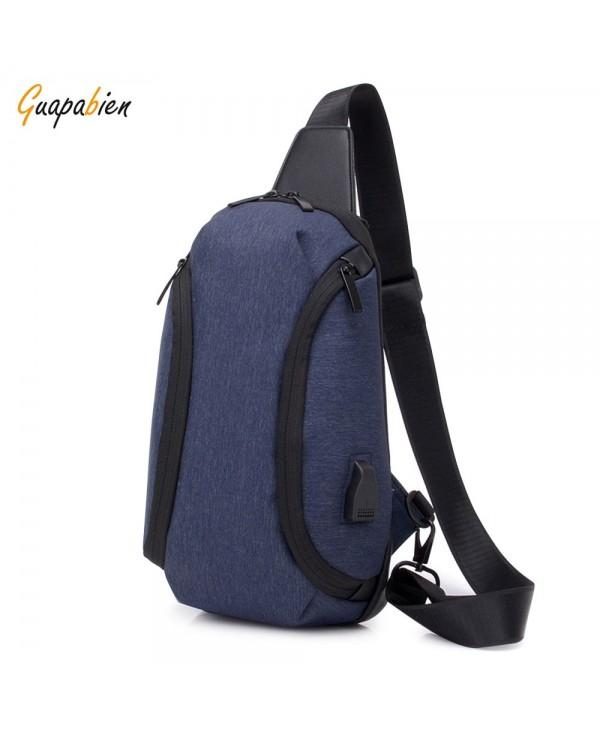 Guapabien USB Charger Sports Single Shoulder Chest Crossbody Men Bag