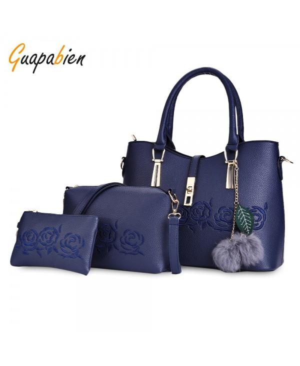 Guapabien 3pcs Women Handbag PU Leather Shoulder Bag