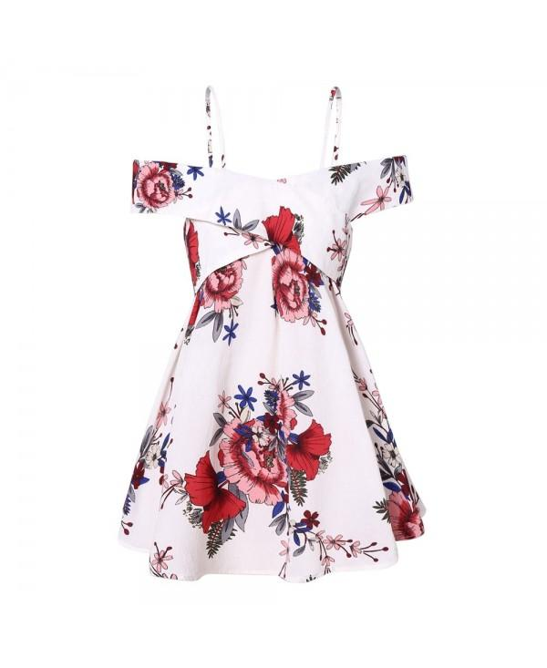 Plus Size Cold Shoulder Front Cross Floral Blouse