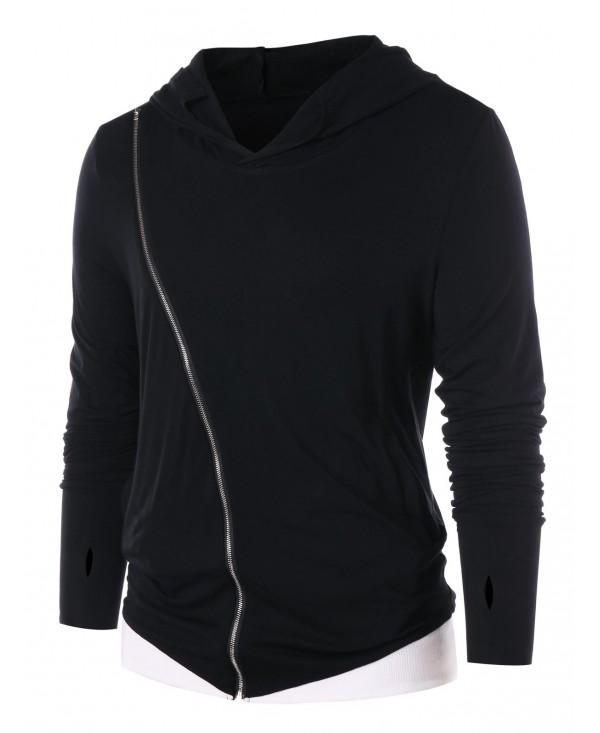 Contrast Color Zip Embellished Long Sleeve Hoodie