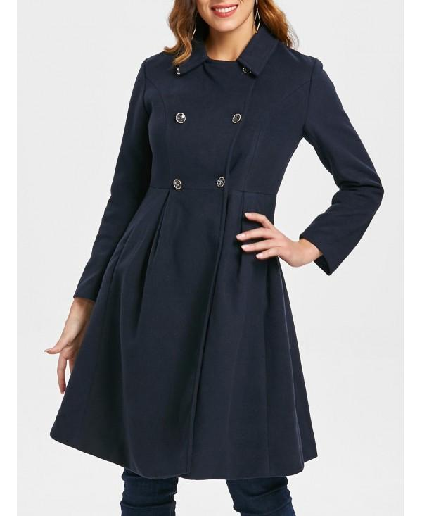 Double Breasted High Waisted Woolen Coat