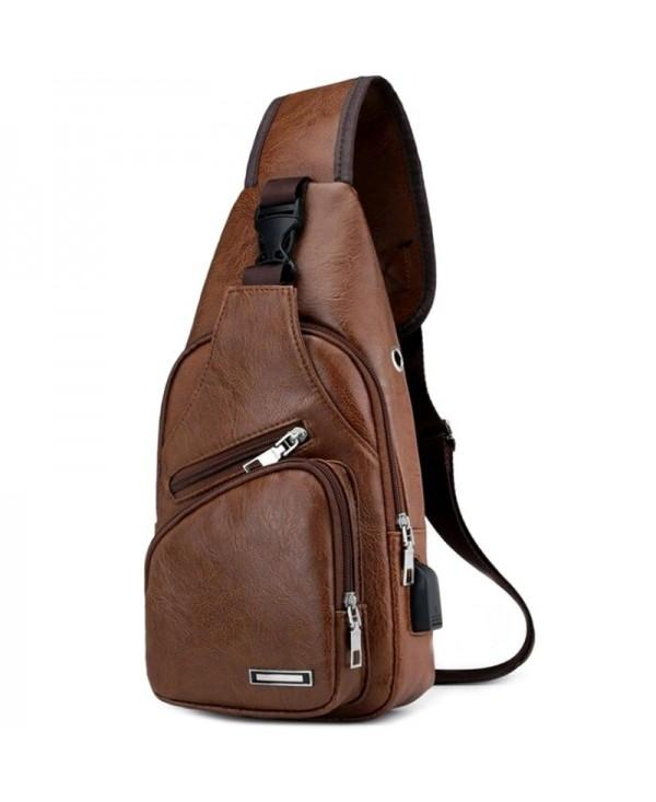SYBB063 Fashion Diagonal Single Shoulder Strap USB Interface Men Chest Bag