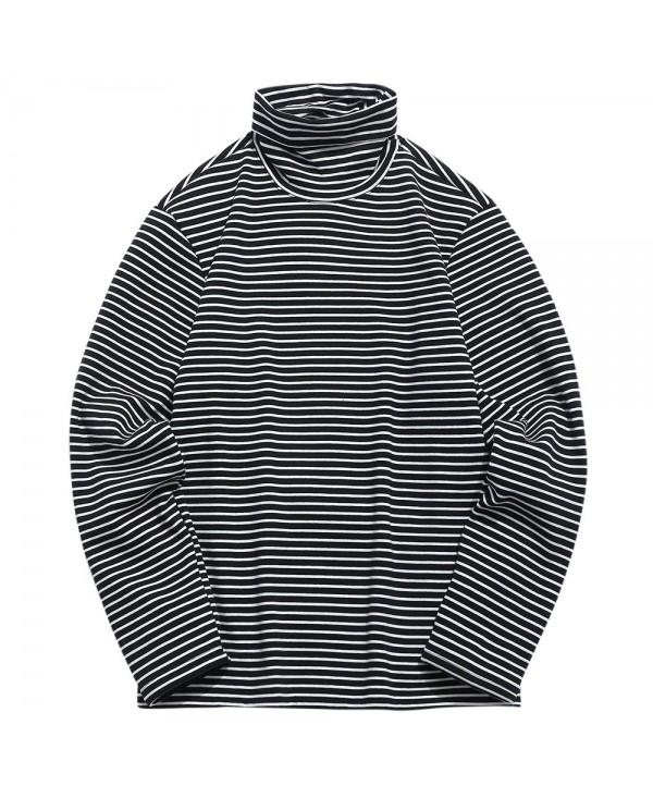 Fleece Turtleneck Stripe Warm Sweatshirt