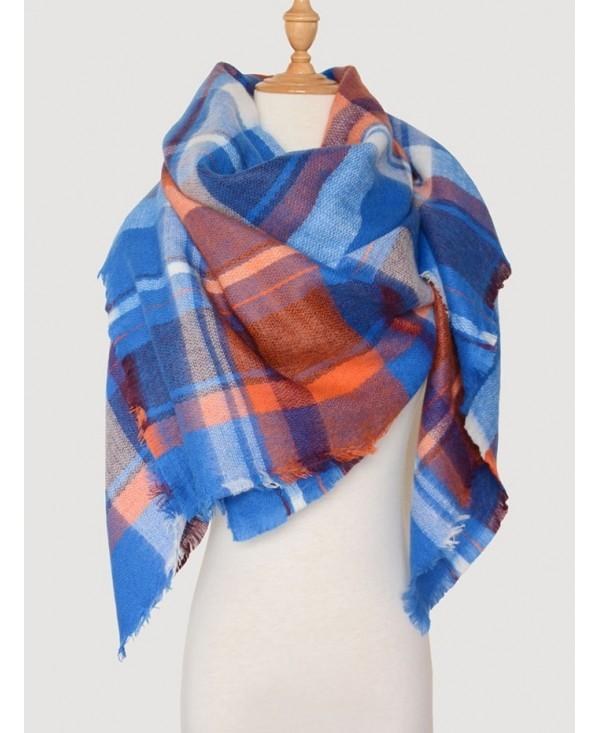 Color Blocking Checked Wool Blended Square Scarf