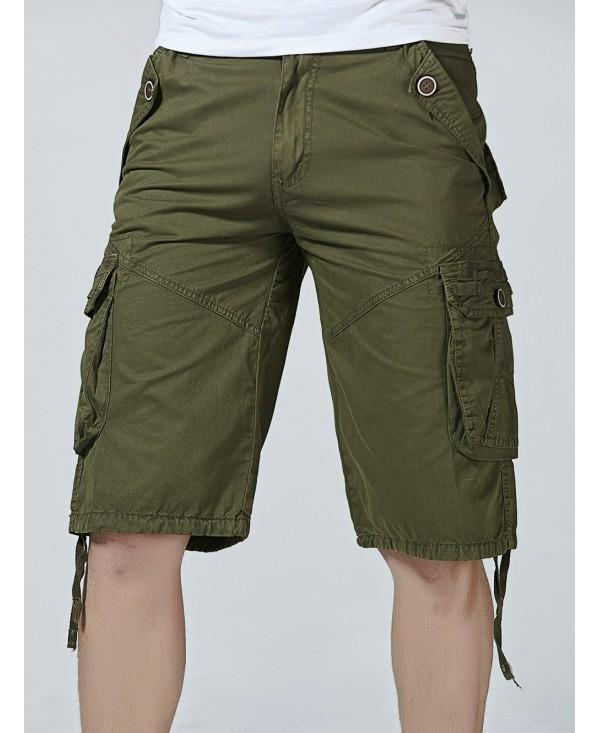 Drawstring Hem Multi Pockets Zip Fly Cargo Shorts