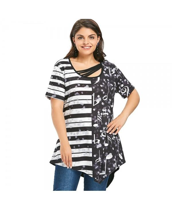 Plus Size Music Note Striped Print Asymmetric T-shirt