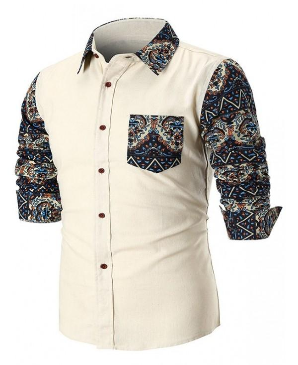 Contrast Trible Print Pocket Long Sleeve Shirt