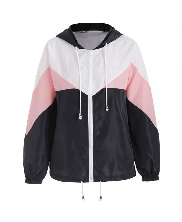 Hooded Drawstring Color Block Jacket