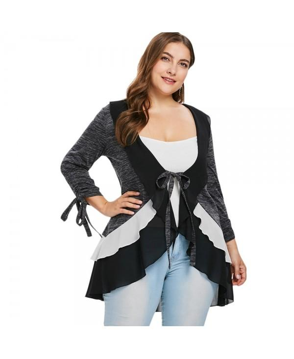 Plus Size Ruffle Trim Marled Coat