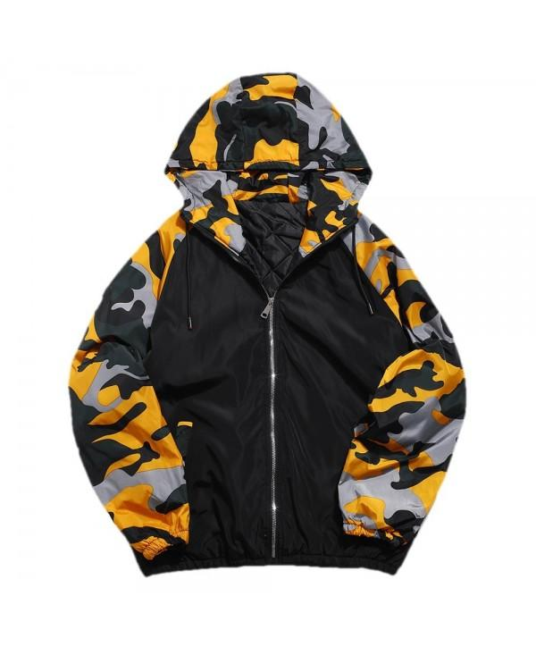 Camo Patchwork Padded Hooded Jacket
