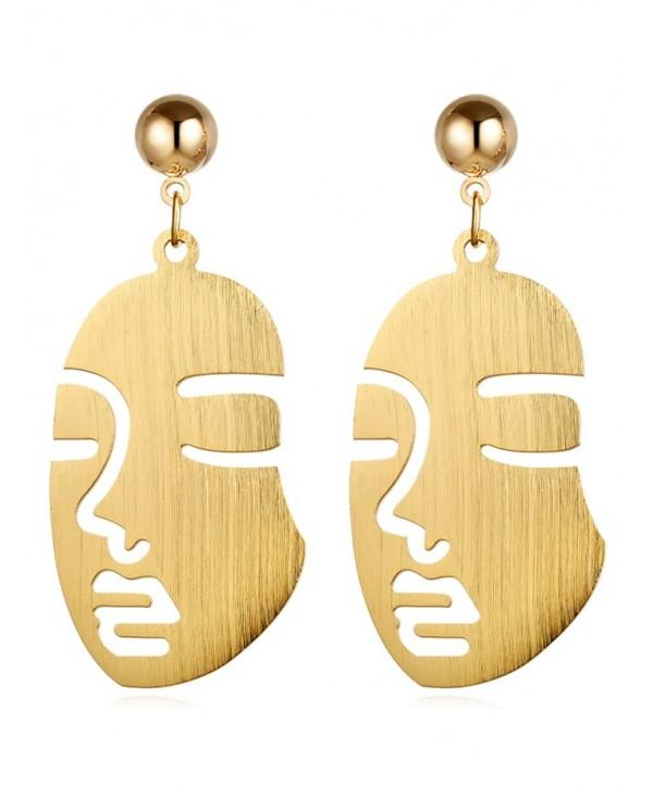 Vintage Human Face Alloy Punk Earrings