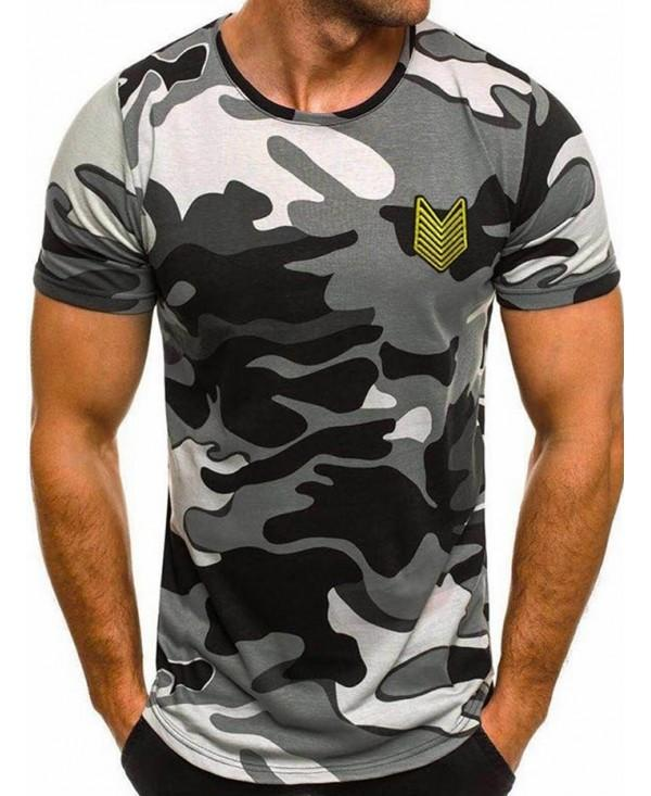 Appique Camouflage Print Slim Fit T-shirt