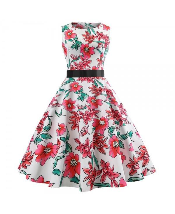 Winter Sleeveless Hepburn Wind Waist Christmas Dress