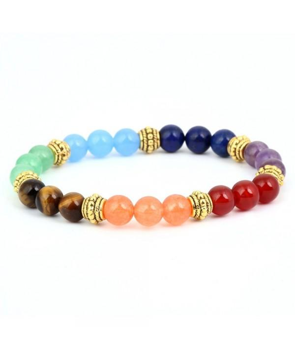 Natural Stone Seven Color Chakra 8MM Agate Tiger Stone Bracelet