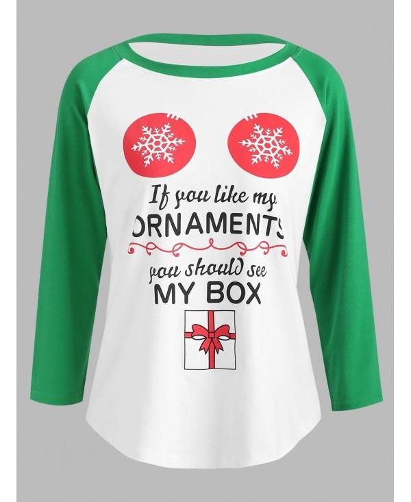 Christmas Graphic Print Baseball Tee