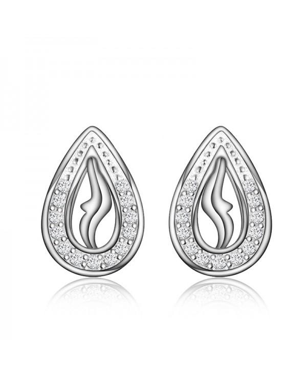 XU Women Personality Teardrop-Shaped Earrings 925 Silver Plated Earring
