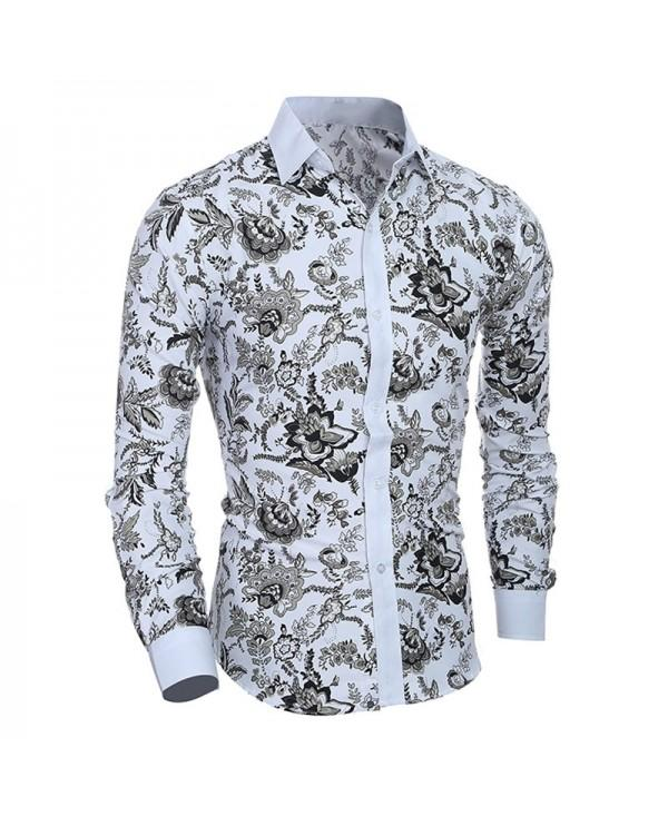 Men's Long Sleeve Stylish Floral Casual Button Down Shirt