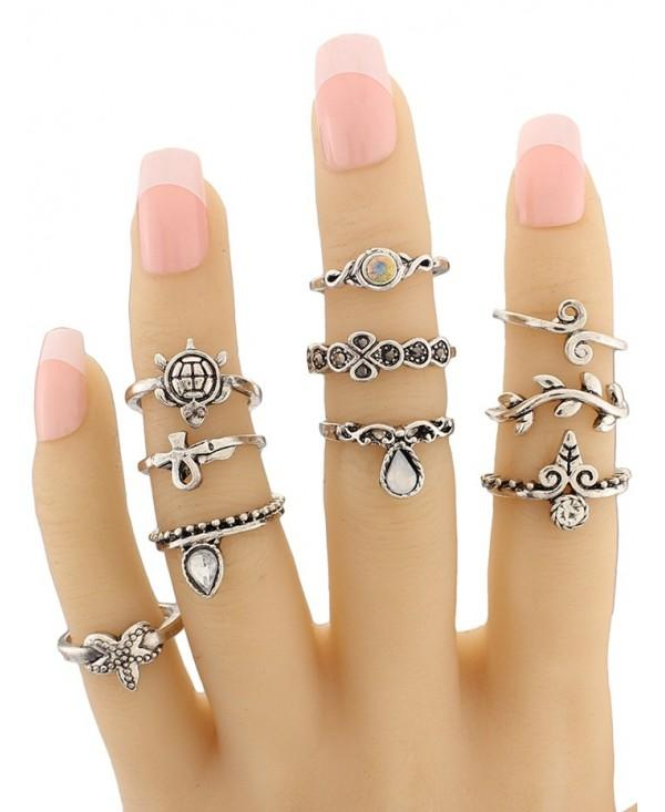 Starfish Tortoise Leaf Teardrop Alloy Ring Set