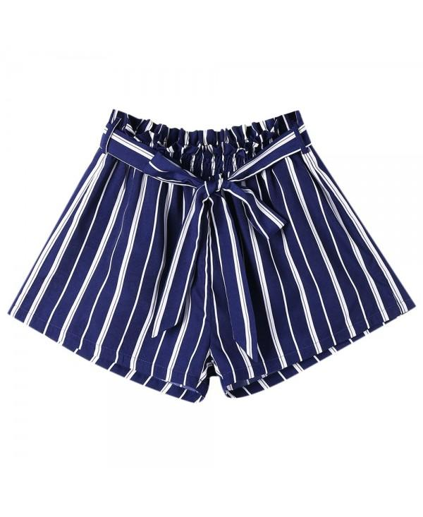Tie Belt Striped Wide Leg Shorts