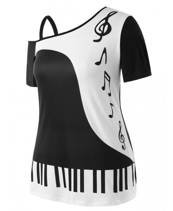 Plus Size Music Notes Print Skew Collar T-shirt