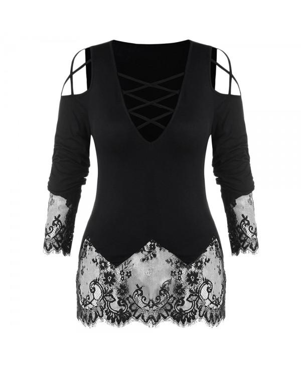 Plus Size Lace Panel T-shirt