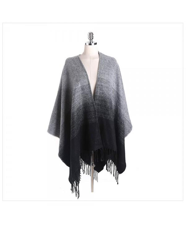 Black ash gradually discoloration of the ancient fringed Scarf Shawl