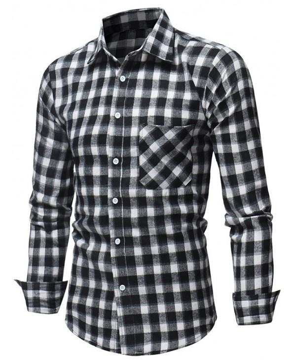 Slim Fit Patch Pocket Plaid Shirt