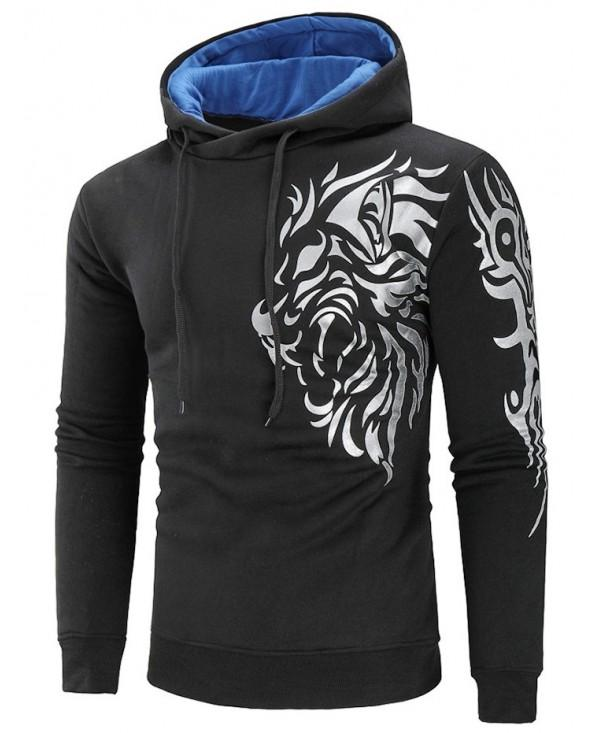Tiger Print Color Block Hoodie