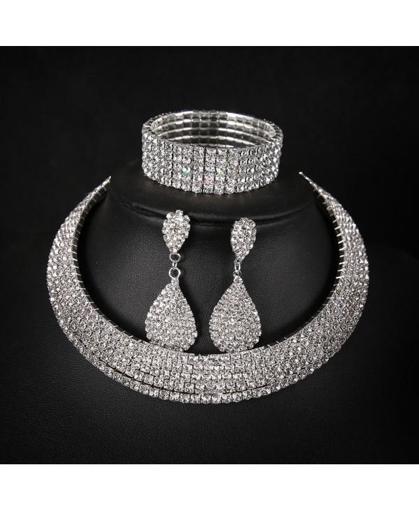 Full-Featured Multi-Layer Collar Set Necklace Drop Earrings Bracelet