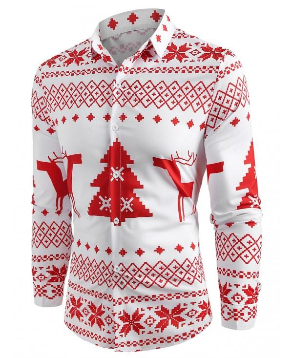 Christmas Geometry Pattern Long Sleeve Shirt