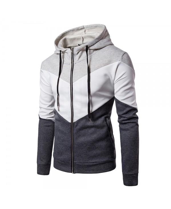 Hooded Color Block Panel Fleece Zip Up Hoodie