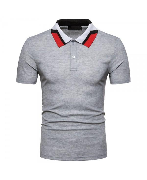 New European Men's Collar Color Matching Short-Sleeved T-Shirt