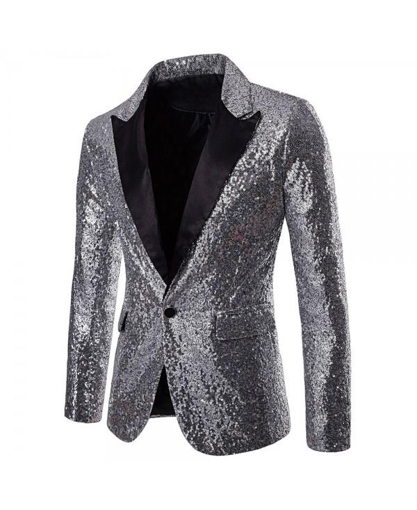 Performance Wear One Button Pockets Sequin Blazer