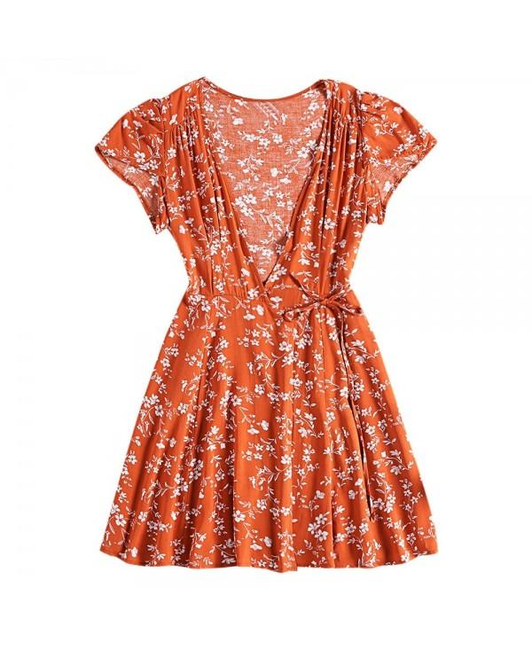 V Neck Cap Sleeve Floral Print A-line Cotton Tied Strap Women Wrap Dress