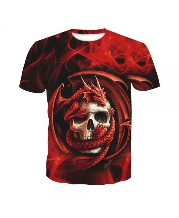 Men's Summer 3D Red Short-Sleeve Digital Print T-Shirt