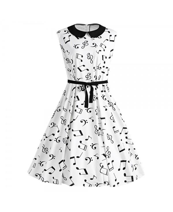 Plus Size Musical Notes Printed Collared Retro Dress