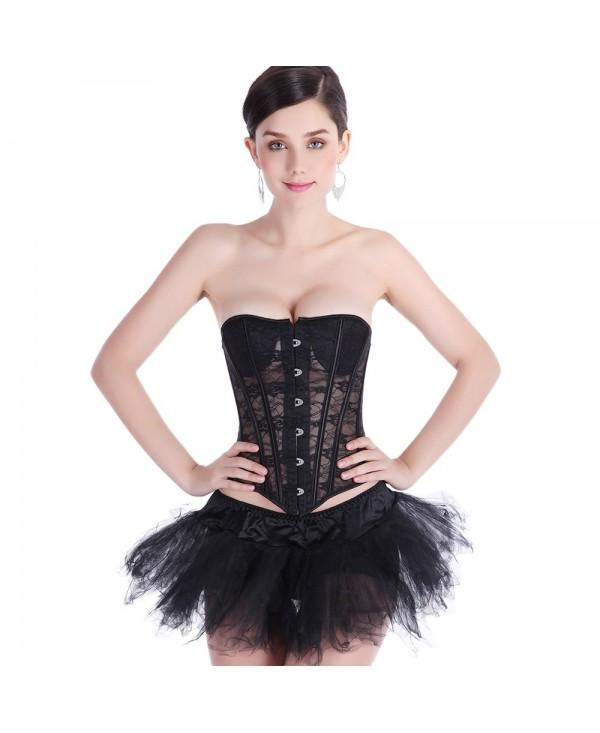 See Through Lace Corset with T-back