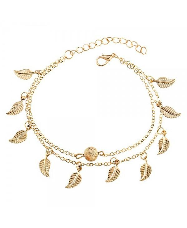 Vintage Double Layer Metal Leaf Ankle Bracelet