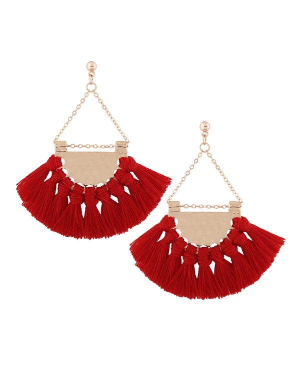 Tassel Alloy Triangle Drop Earrings