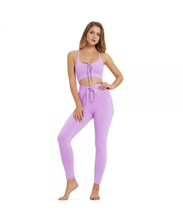 Spaghetti Strap Padded Lacing-up Solid Color High Waist Skinny Elastic Women Yoga Suit