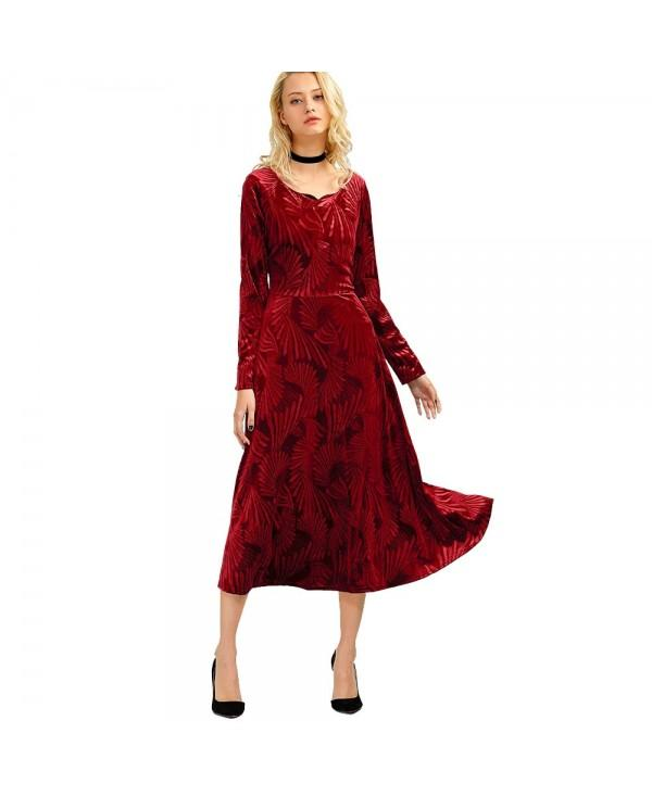 Long Sleeve Velvet Tea Length Flowy Party Dress