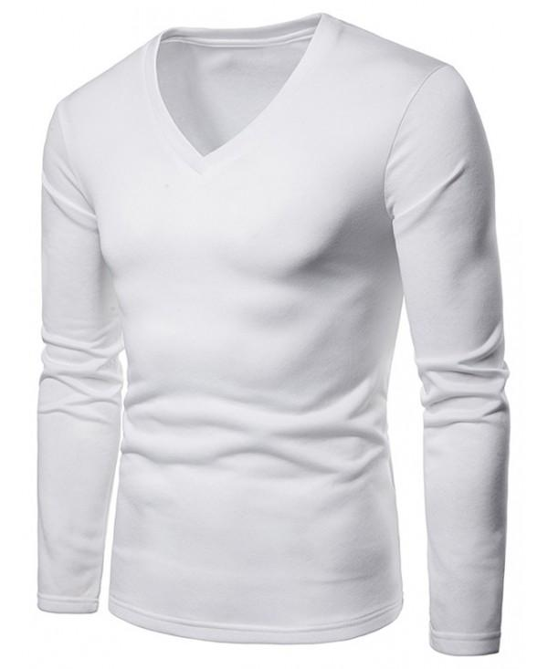 Solid Color V Neck Fleece T-shirt
